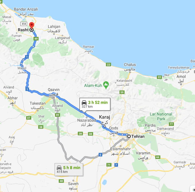 فاصله زمینی رشت تا تهران چقدر است؟