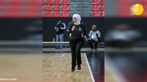 (عکس) قضاوت داور زن برای نخستین بار در لیگ بسکتبال اردن
